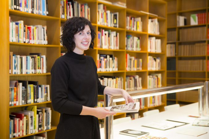 Photo of Margit Wilson in the Walker Art Center Library