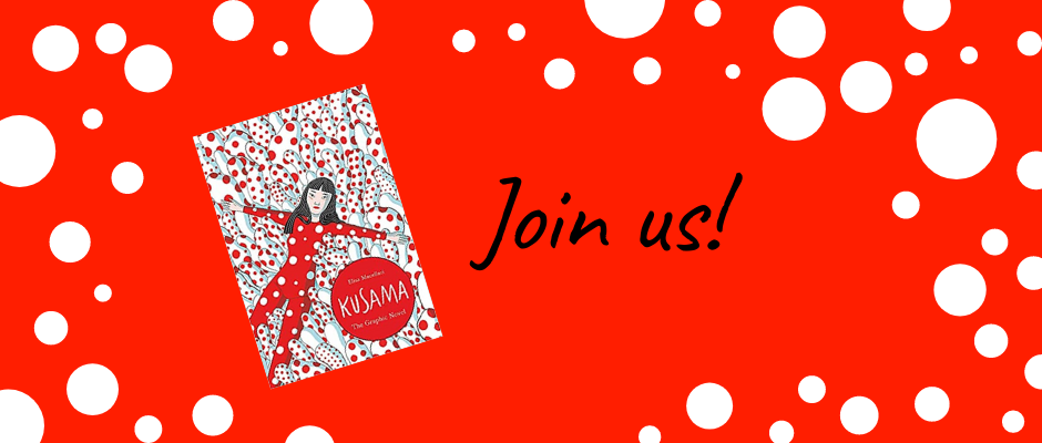 """Kusama: The Graphic Novel book cover with text """"Join us!"""" Red background with white polka dots."""